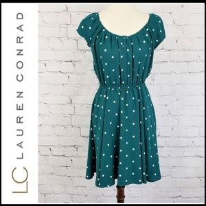LAUREN CONRAD Teal Polka Dot A-Line Dress S